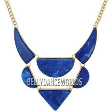 GOLDEN CHAIN RESIN MARBLE PATTERN PENDANT BIB STATEMENT NECKLACE FASHION JEWELRY