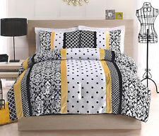 BLACK YELLOW POLKA DOT STRIPED FULL QUEEN STEELERS PENS PIRATES COMFORTER SET