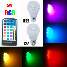 5W E27 B22 LED RGB Globe Bulb Light Lamp 16 Color Changing + IR Remote Control