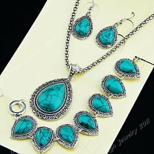 2014 Real Vintage Jewelry Set Water Turquoise Silver Necklace Earring Bracelet