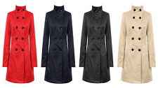 Ladies Women Festival Double Breasted Funnel Neck Trench Coat Mac Button 8-14