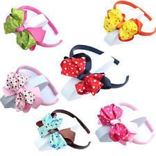 New Wholesale Lot 3 PC Girls Baby Cute Solid color Bow FLOWER Hair Top HEADBANDS