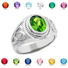 Sterling Silver Celtic Men's Birthstone Ring (all 12 months) USA