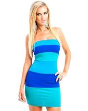 Womens Dress Sexy Color Block Blue Turqouise strapless Bodycon zipper back S M L