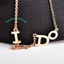 Made in Korea YES I DO Engagement Proposal Necklace 18K Rose Gold White Gold