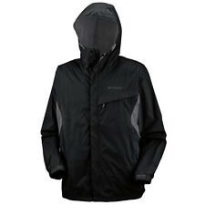 COLUMBIA WATERTIGHT JACKET MENS BLACK CHARCOAL XL XXL RAINCOAT HOOD  AUTHENTIC