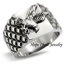 MEN'S SILVER TONE STAINLESS STEEL UNITED STATES AMERICAN EAGLE RING SIZE 8 - 13