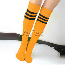 6 Choices Thigh High Striped Over Knee Long Socks Stockings Tube Soccer Football