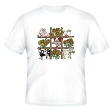 Decorative Country T-shirt Farm animals cow horse chicken duck pig tic tac toe