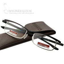 New Men's Thin Metal Half Rimless Reading Glasses Optical UV Coating Lens Reader
