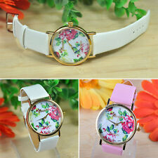 Fashion Rose Flower Leather Strap Watch Wristwatch Dress Easy to Read Hot