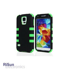 For Samsung Galaxy S5 Heavy Duty Green Hybrid Rugged Hard Case/screen protector