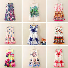 New Fashion Womens partysu Digital printing sleeveless Pleated waist vest dress