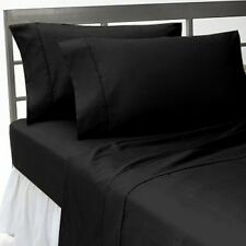 BLACK SOLID FITTED/SHEET/DUVET SET/SKIRT 1000TC 100%COTTON CHOOSE ITEMS & SIZE