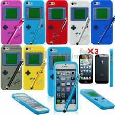 GAME STYLE SILICONE RUBBER GEL Case For iPhone 5 5G 5S + Stylus + 3pcs Film Set