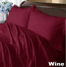 LUXURIOUS WINE STRIPE UK BEDDING SHEET COLLECTION IN 1000TC 100% EGYPTIAN COTTON
