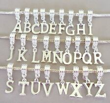 Letter Alphabet Pendant Dangle Bead Fit for European charm bracelet/necklace C43