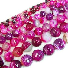 Magenta Striated Agate Round Beads 4mm 6mm 8mm 10mm free shipping