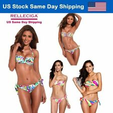 Women Bikini Swimsuit Padded Adjustable Bandeau Halter Bathing Suit Swimwear