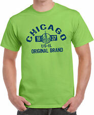 Illinois State USA America Chicago Skyline Cool Gift Printed T-Shirt Lime