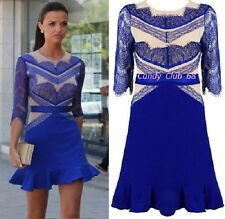 Three Floor Style Shade of Blue & Nude Lace Celeb Towie Party Dress Size S M L