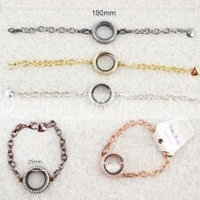New Circle Magnetic Crystal Floating Living Memory Locket Bracelet Free Shipping