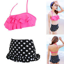 New High Waisted Push Up Bandeau Bikini Sexy Swimsuits Swimwear Short skirt