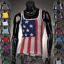 Jeansian Mens T-Shirts Top Tank Undershirt USA Flag Slim 3 Colors 4 Size D340