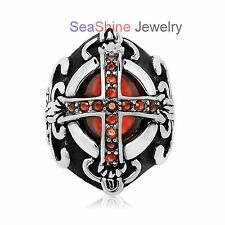 MEN'S Vintage Silver Ruby Red CZs Cross Stainless Steel Special Ring Size 6-12