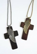 NEW Leather Men's Metal Dog Tag Cross Wings Pendant Surfer Necklace Choker Chain