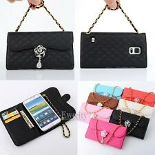 Luxury Deluxe Bling Grid Flower Wallet Flip Handy Chain PU Leather Case Cover