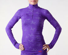 NEW KARI TRAA PULP PURPLE BUTTERFLY 1/2 ZIP LONG SLEEVE TOP FOR FITNESS RUNNING
