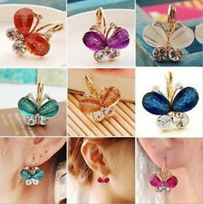 1Pair Women Fashion Elegant Crystal Rhinestone Butterfly Ear Studs Earrings New