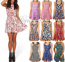 Fashion Party Graphic Floral Printed Cartoon Two-Way Singlet Skater Dress Skirt