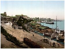 4402.Fishing village by lake.castle in background.POSTER.decor Home Office art