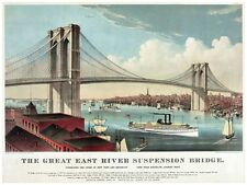 4449.The great east river suspension bridge.POSTER.decor Home Office art