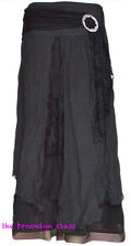 PRETTY ANGEL Black Vintage Boho Peasant Gypsy skirt--layered, flowing, elegant