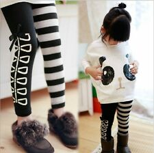 Kids Clothing Girls Toddlers Classical Black  White Design Leggings Size3-8Years