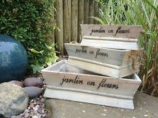 FRENCH VINTAGE STYLE WOODEN PLANTER GARDEN TRUG PLANT HERBS POT WINDOW BOX