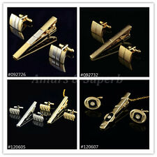 FASHION Gold Silver Plated Crystal Cufflinks Tie Clip Set Shirt Cuff Links