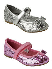 GIRLS SPARKLY GLITTER FLAT BALLET DOLLY PUMPS EVENING PARTY SHOES KIDS UK 4-12