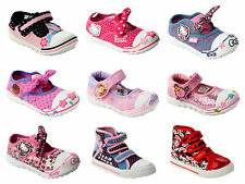 GIRLS OFFICIAL BRANDED CHARACTER CANVAS CASUAL PUMPS SHOES TRAINERS UK SIZE 4-12