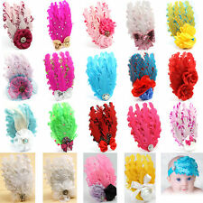 Baby Girl Infant Toddler Headband Peacock Feather Flower Bow Headwear Hair Band