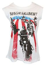 Sons of Anarchy Girls Tank Top - Bikes Across American Flag Image  White
