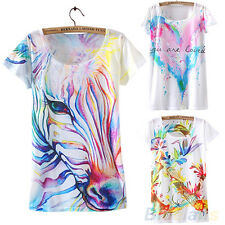 Ladies New Arrival Short Sleeve Horse Graphic Printed T Shirt Tee Blouse Tops