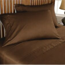 NEW SOFT 1000TC BROWN SOLID EXTRA DEEP SHEET SET/FITTED SHEET 100%COTTON ALL SIZ