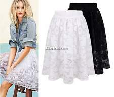 Women Girl Hook Floral Lace Tiered Tulle Ruffle Gauze Skirt Elastic Waistband