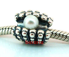 925 Sterling Silver Pearl Oyster Shell Thread Fit European Bead Charm Bracelet