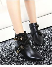Women's Buckles Pointy Toe Chunky Low Heel Punk Ankle Boots Black Free Shipping