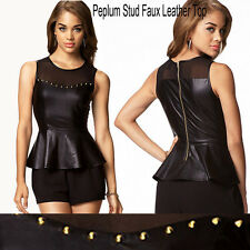 Top Design Cool Stylish Lady's Sexy Black Faux Leather Sleeveless Suits Zippers
